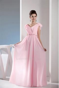 Sheath/Column Floor-Length Chiffon Long Pink Bridesmaid Evening Dresses 02010036