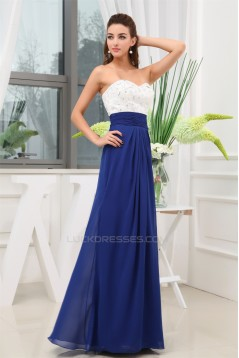 A-Line Sweetheart White Blue Beaded Long Bridesmaid Dresses 02010037