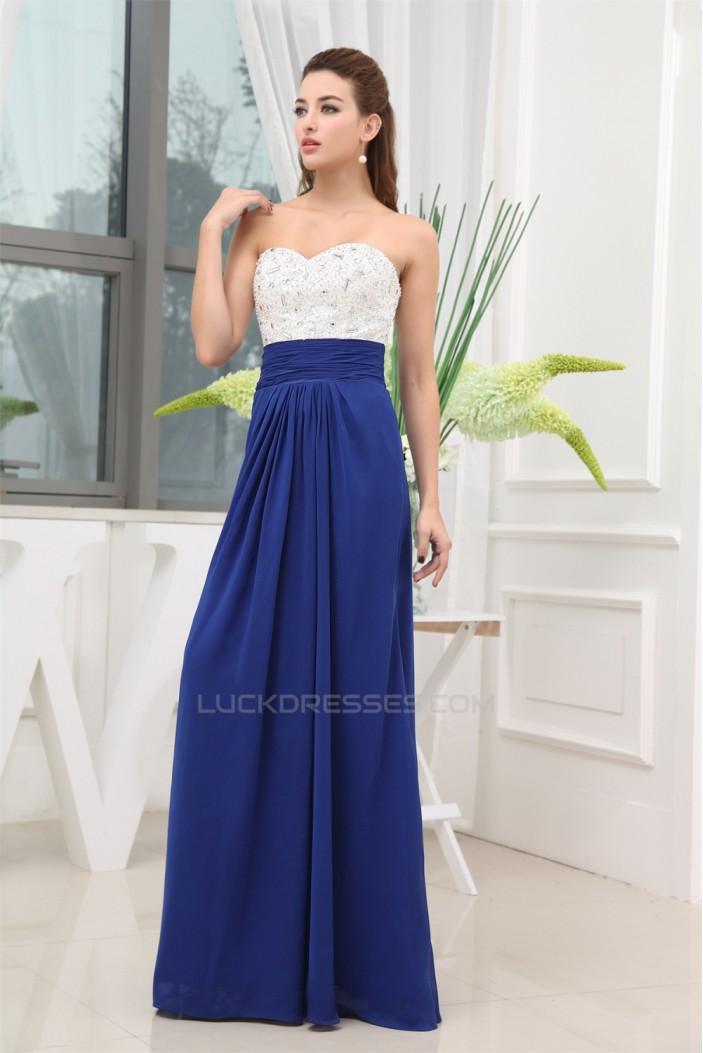 A-Line Sweetheart White Blue Beaded Long Bridesmaid Dresses 02010037
