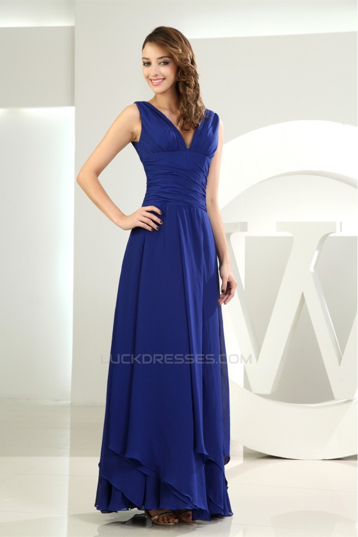 A-Line V-Neck Floor-Length Chiffon Long Blue Bridesmaid Dresses 02010039
