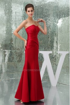 Floor-Length Criss Cross Trumpet/Mermaid Soft Long Red Sweetheart Bridesmaid Dresses 02010040