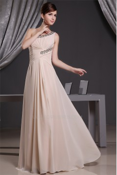 A-Line Floor-Length One-Shoulder Sleeveless Beaded Long Bridesmaid Dresses 02010042