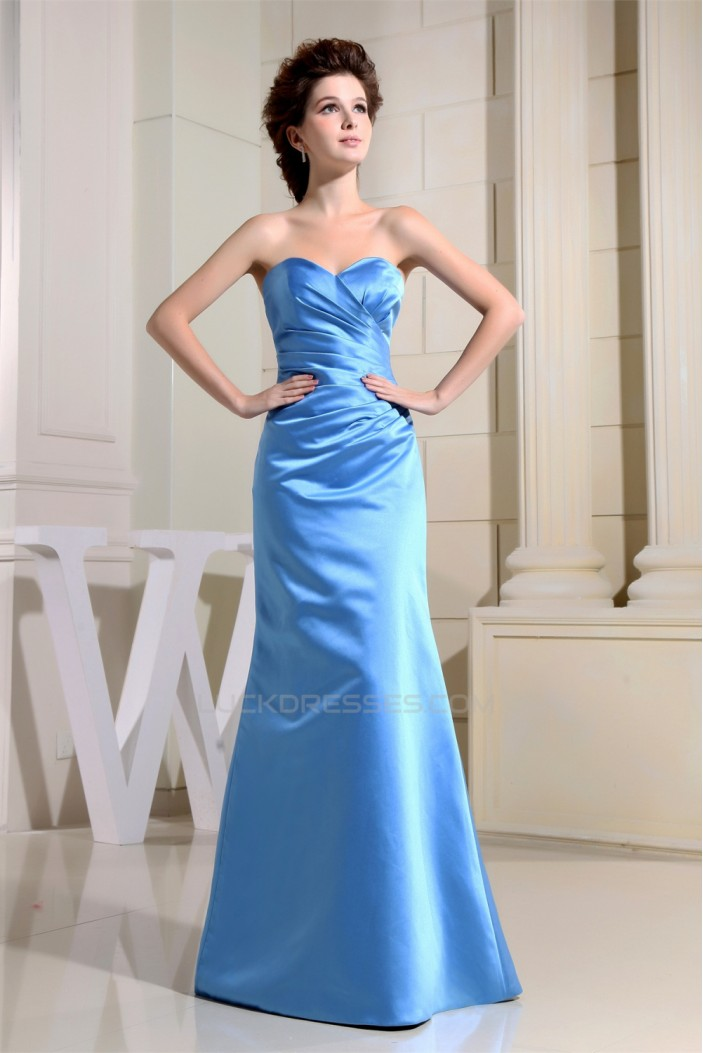 Floor-Length Satin Sweetheart Sleeveless Long Blue Bridesmaid Dresses 02010043