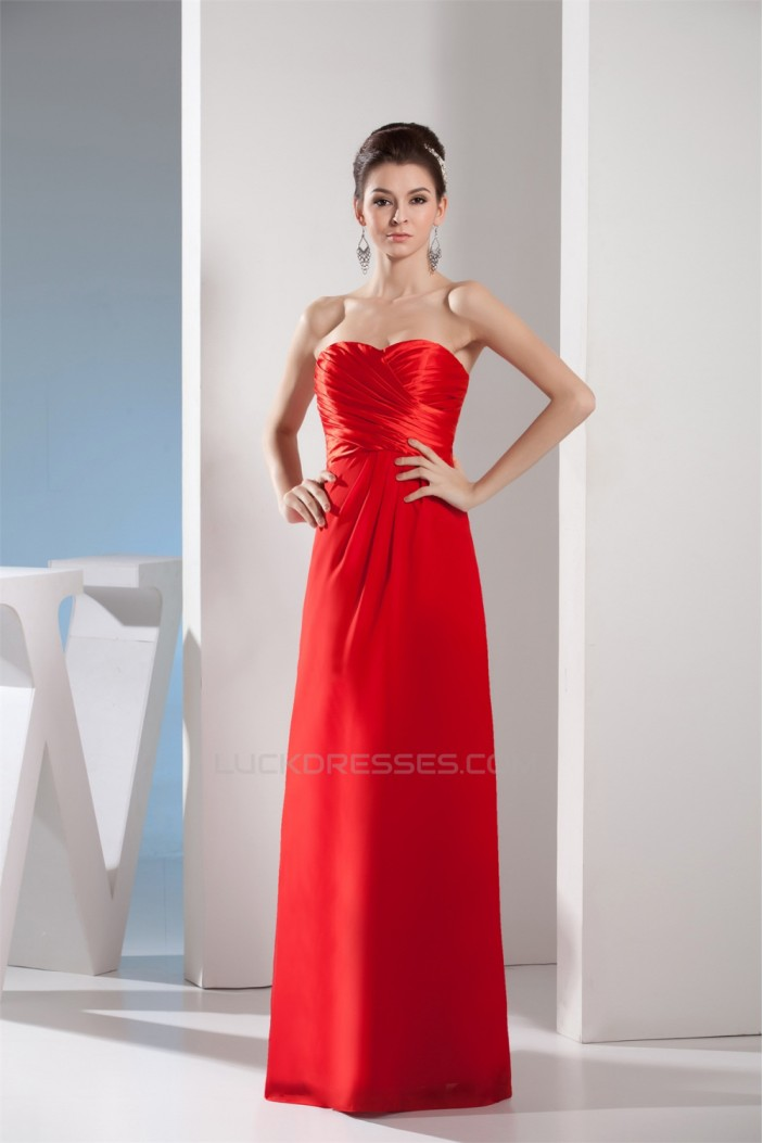 Floor-Length Sleeveless Long Red Bridesmaid Dresses 02010045