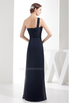 Floor-Length Strapless Sheath/Column Long Navy Blue Chiffon Bridesmaid Dresses 02010048