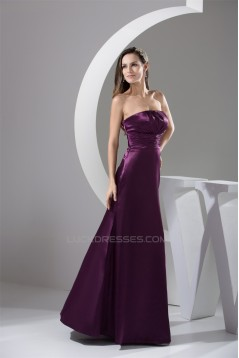 A-Line Sleeveless Floor-Length Strapless Pleats Long Bridesmaid Dresses 02010049