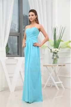 Floor-Length Sweetheart Sleeveless Sheath/Column Long Blue Bridesmaid Prom/Formal Evening Dresses 02010052