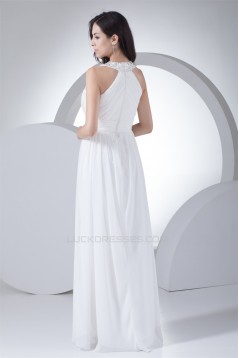 Halter Sheath/Column Sleeveless Floor-Length Best Long White Bridesmaid Dresses 02010058