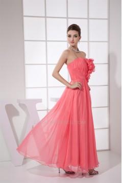 Handmade Flowers Ankle-Length Strapless Best Long Bridesmaid Dresses 02010060