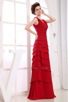 Illusion Sleeves A-Line Floor-Length V-Neck Long Red Chiffon Bridesmaid Dresses 02010062