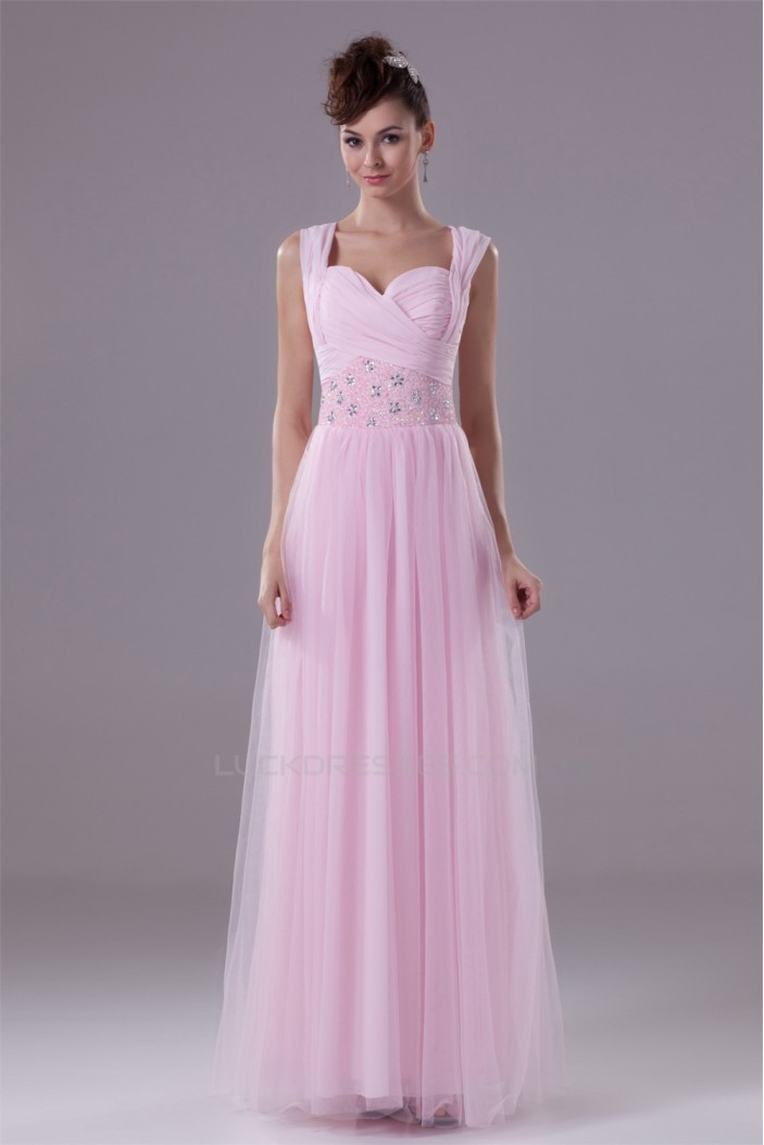 Illusion Sleeves Sweetheart Beaded Long Pink Bridesmaid Dresses 02010063
