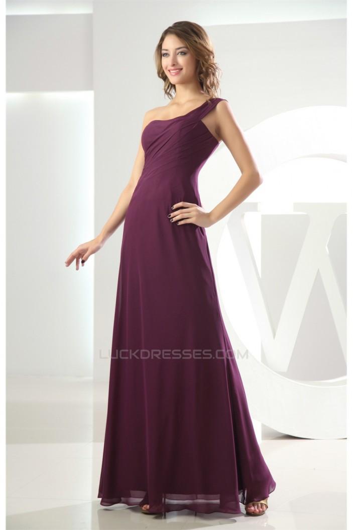 One-Shoulder A-Line Ruffles Sleeveless Floor-Length Long Bridesmaid Dresses 02010065