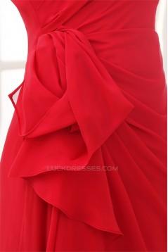 One-Shoulder Sheath/Column Sleeveless Ruffles Chiffon Long Bridesmaid Dresses 02010066