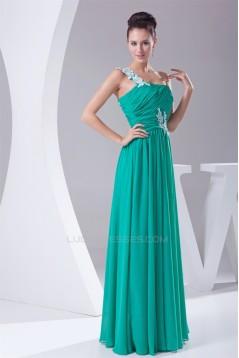 A-Line One-Shoulder Chiffon Floor-Length Best Bridesmaid Dresses 02010069