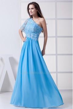 A-Line One-Shoulder Floor-Length Chiffon Lace Long Bridesmaid Dresses 02010070