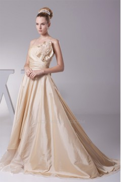 A-Line Strapless Handmade Flowers Floor-Length Bridesmaid Dresses 02010071