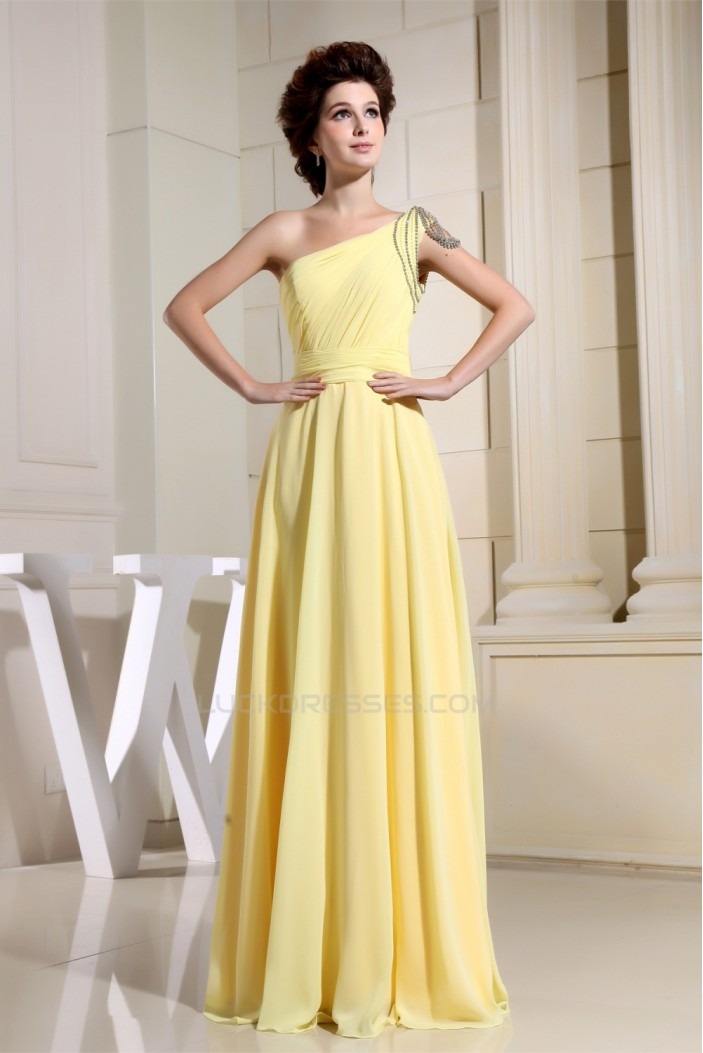 A-Line One-Shoulder Ruffles Floor-Length Chiffon Long Yellow Bridesmaid Dresses 02010072