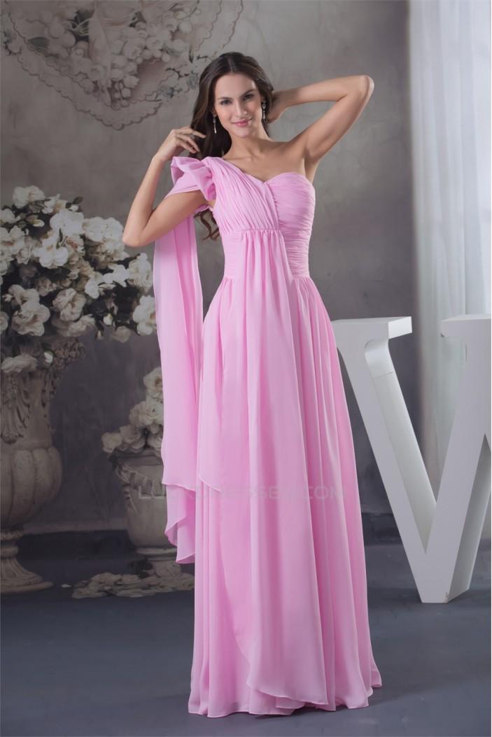 One-Shoulder Sheath/Column Sleeveless Chiffon Long Pink Bridesmaid Dresses 02010073