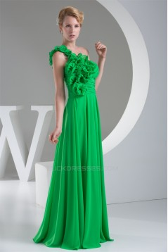 One-Shoulder Sleeveless Chiffon Long Green Best Bridesmaid Dresses 02010074