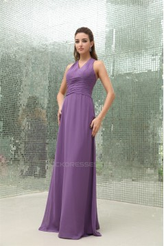 Pleats Sheath/Column Straps Chiffon Long Bridesmaid Dresses 02010076