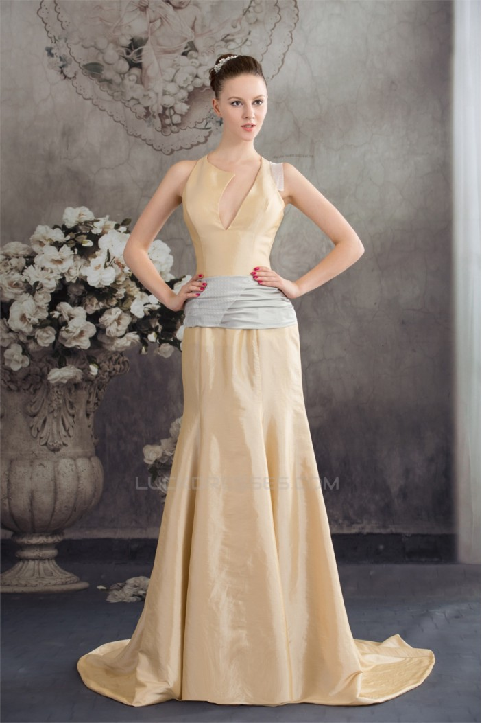 Puddle Train Mermaid/Trumpet Straps Sleeveless Long Bridesmaid Dresses 02010077