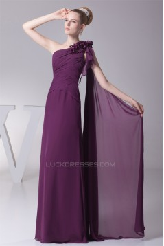 A-Line Ruffles One-Shoulder Chiffon Long Bridesmaid Dresses 02010078