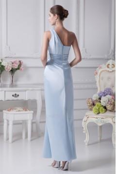 Ruffles Elastic Woven Satin One-Shoulder Long Bridesmaid Dresses 02010080