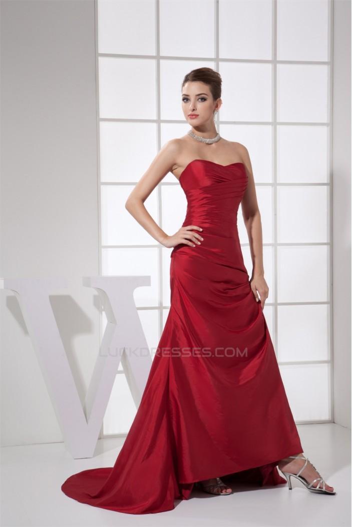 Ruffles Sheath/Column Sleeveless Brush Sweep Train Long Bridesmaid Dresses 02010082