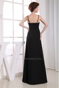A-Line Sweetheart Spaghetti Strap Floor-Length Long Black Chiffon Bridesmaid Dresses 02010083