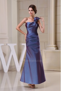 Sheath/Column Ankle-Length Sleeveless Taffeta Best Long Bridesmaid Dresses 02010085