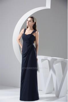 Sheath/Column Simple Style Floor-Length Chiffon Sleeveless Best Bridesmaid Dresses 02010088