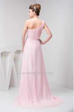 A-Line Beading Brush Sweep Train One-Shoulder Long Pink Chiffon Bridesmaid Dresses 02010089