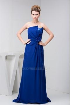 A-Line Chiffon Sequins Long Blue Brush Sweep Train Bridesmaid Dresses 02010090