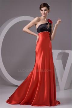 A-Line Silk like Satin Brush Sweep Train One-Shoulder Long Bridesmaid Dresses 02010091