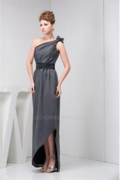 Sheath/Column One-Shoulder Long Chiffon Bridesmaid Dresses under 100 02010093