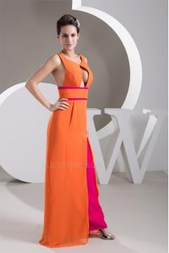 Chiffon Floor-Length V-Neck Long Bridesmaid Dresses 02010098