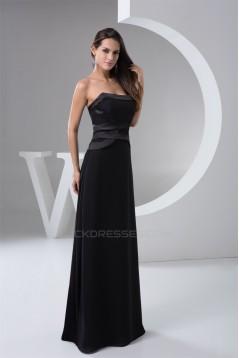 Floor-Length Sleeveless Pleats Strapless Long Black Bridesmaid Dresses 02010101