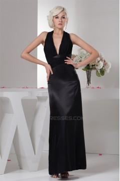 Halter Chiffon Silk like Satin Pleats Sheath/Column Long Black Bridesmaid Dresses 02010102
