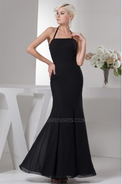 Mermaid/Trumpet Halter Pleats Chiffon Long Black Bridesmaid Dresses 02010103
