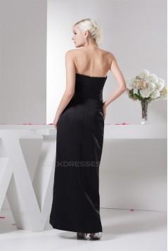 Pleats Satin Strapless Sleeveless Long Black Bridesmaid Dresses 02010104