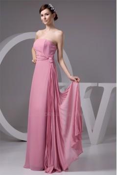 Most Popular Ruffles Strapless Chiffon Long Bridesmaid Dresses 02010106