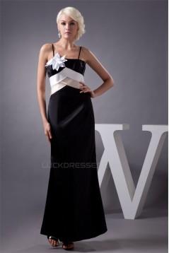 Satin Ankle-Length Spaghetti Straps Sleeveless Long Bridesmaid Dresses 02010107