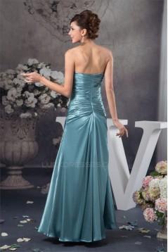 A-Line Floor-Length Silk like Satin Soft Strapless Long Bridesmaid Dresses 02010110