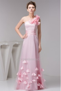 A-Line One-Shoulder Fine Netting Sleeveless Long Pink Bridesmaid Dresses 02010111