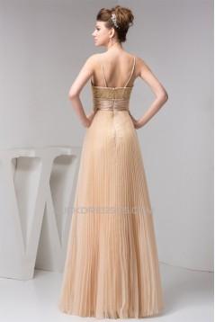 A-Line Spaghetti Strap Lace and Chiffon Long Bridesmaid Dresses 02010112