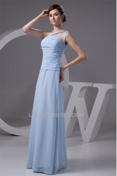 Sleeveless One-Shoulder Chiffon Long Bridesmaid Dresses 02010113