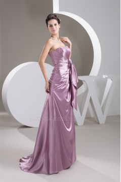 Strapless Beading Sleeveless A-Line Brush Sweep Train Bridesmaid Dresses 02010116