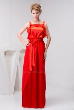 Straps Sheath/Column Sleeveless Bows  Long Bridesmaid Dresses 02010117