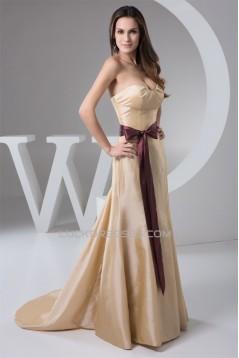 Classic Taffeta Ruched Brush Sweep Train Best Long Bridesmaid Dresses 02010118