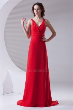 A-Line Chiffon Brush Sweep Train Long Red Chiffon Bridesmaid Dresses 02010120